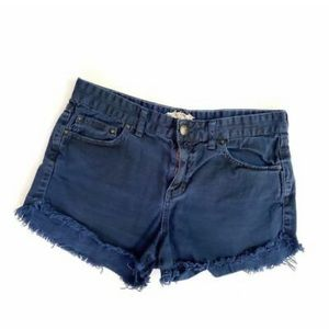 Free People Navy Blue Dolphin Frayed Shorts
